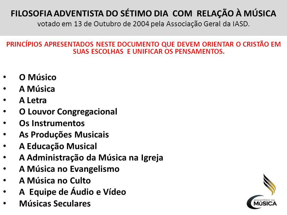 OBJETIVO DO MINISTÉRIO DA MÚSICA DA IASD Ajudar a administração da Música na igreja local,capacitando os músicos, através de Cursos, seminários e avaliações necessárias em suas atividades musicais, incentivando os músicos a cumprir a missão da igreja.