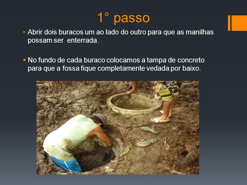 1° passo Abrir dois buracos um ao lado do outro para que as manilhas possam ser enterrada.