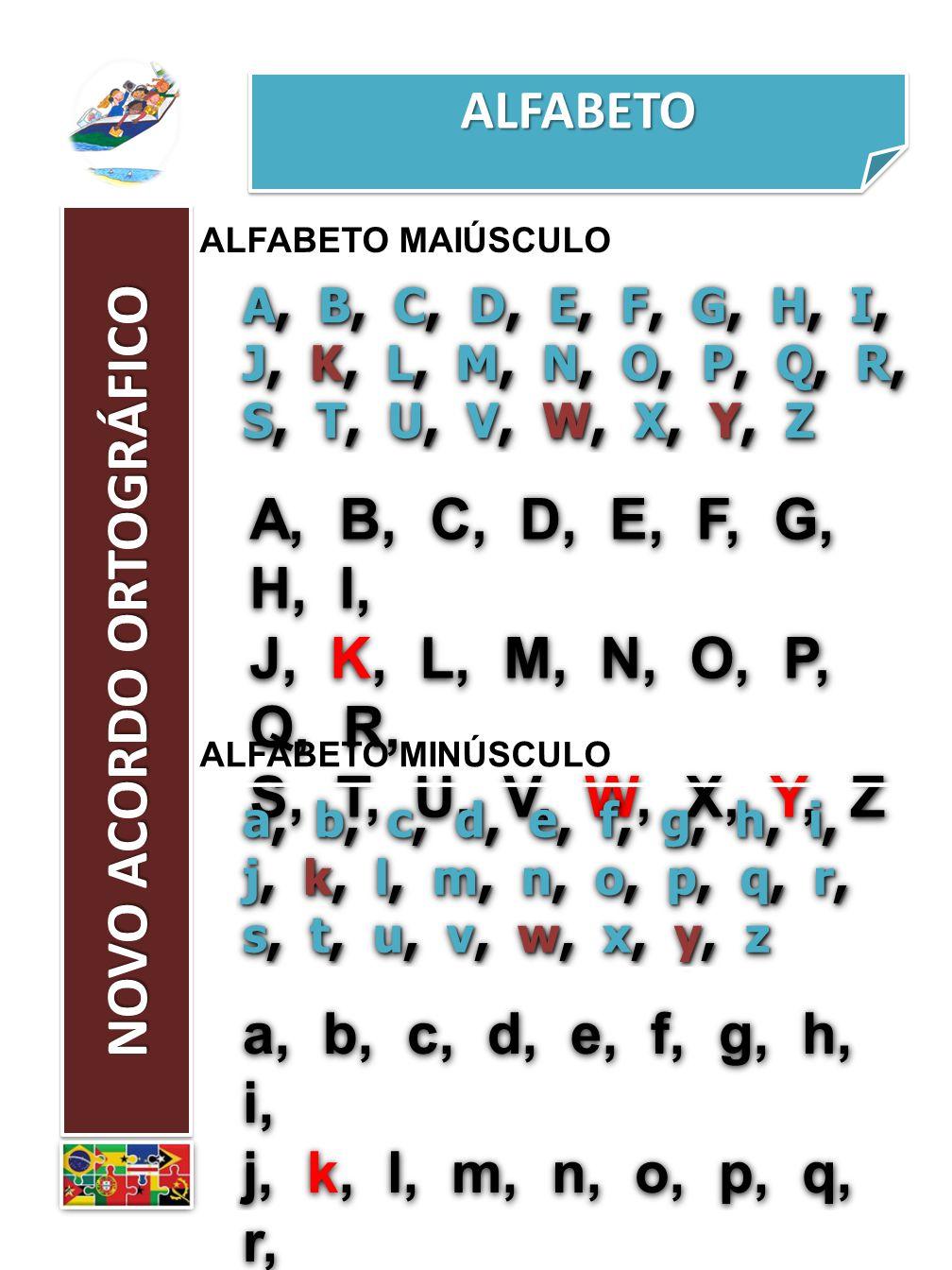 ALFABETOALFABETO NOVO ACORDO ORTOGRÁFICO ALFABETO MAIÚSCULO A, B, C, D, E, F, G, H, I, J, K, L, M, N, O, P, Q, R, S, T, U, V, W, X, Y, Z A, B, C, D, E