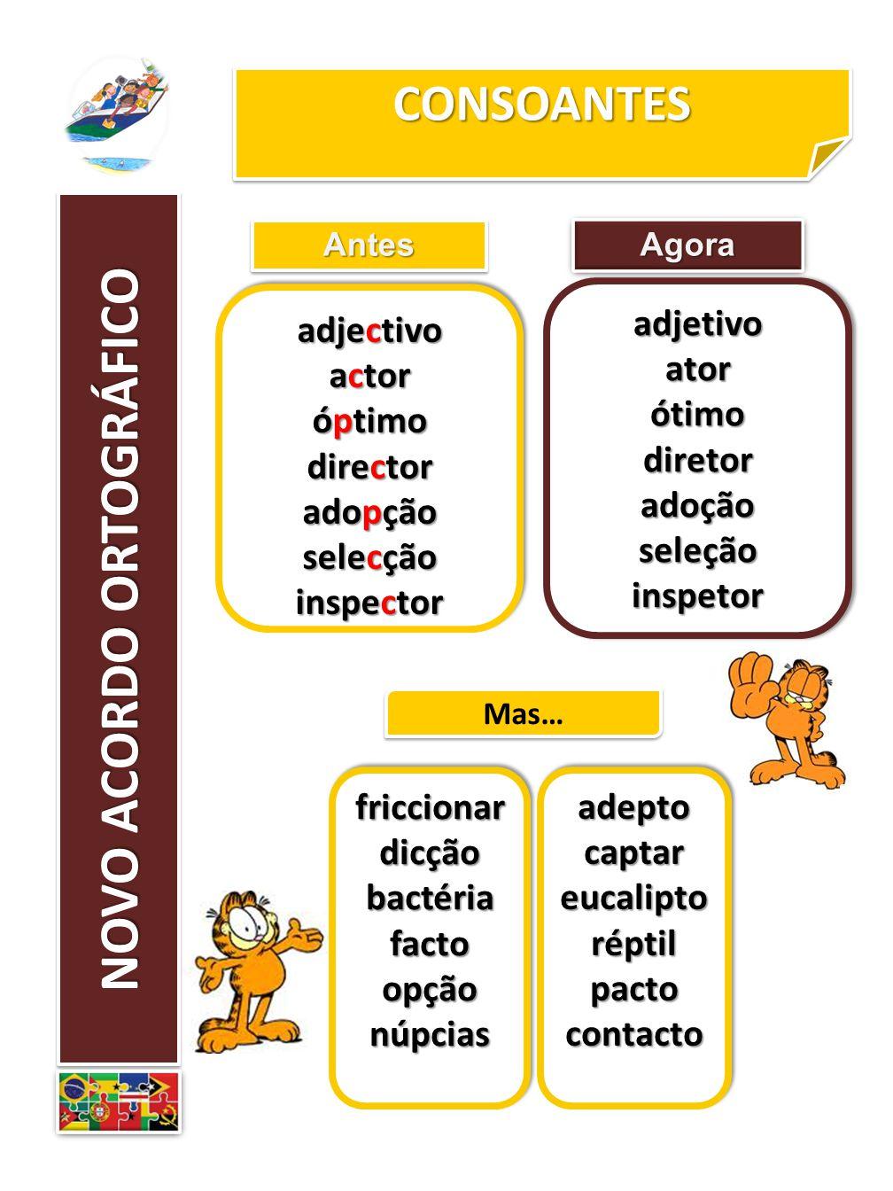 CONSOANTESCONSOANTES AntesAntes adjectivo actor óptimo director adopção selecção inspector adjectivo actor óptimo director adopção selecção inspector