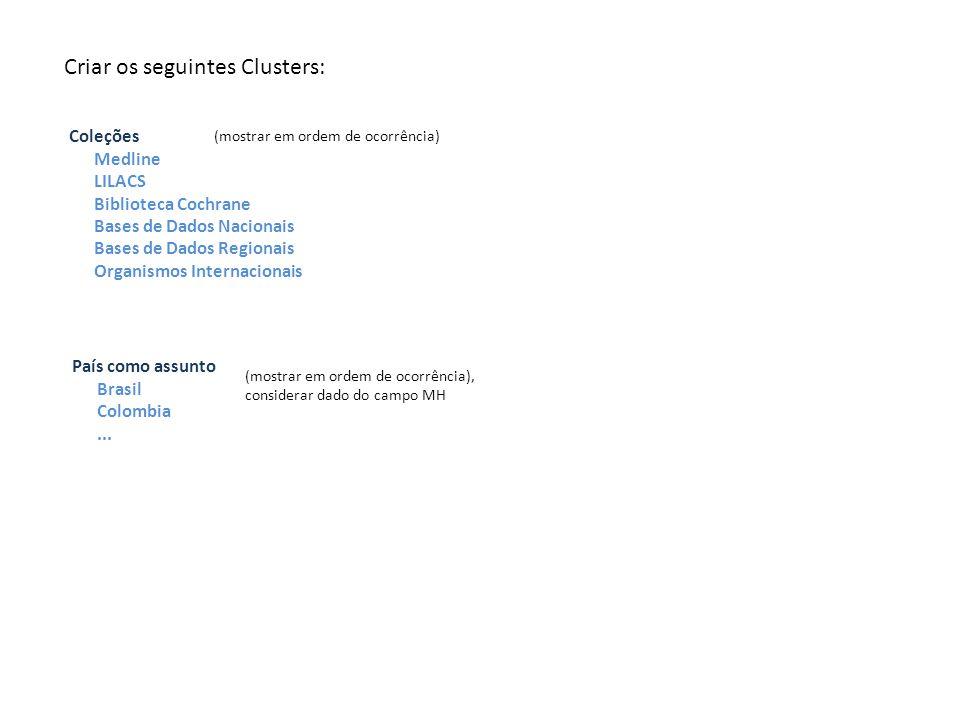 Coleções Medline LILACS Biblioteca Cochrane Bases de Dados Nacionais Bases de Dados Regionais Organismos Internacionais Criar os seguintes Clusters: País como assunto Brasil Colombia...