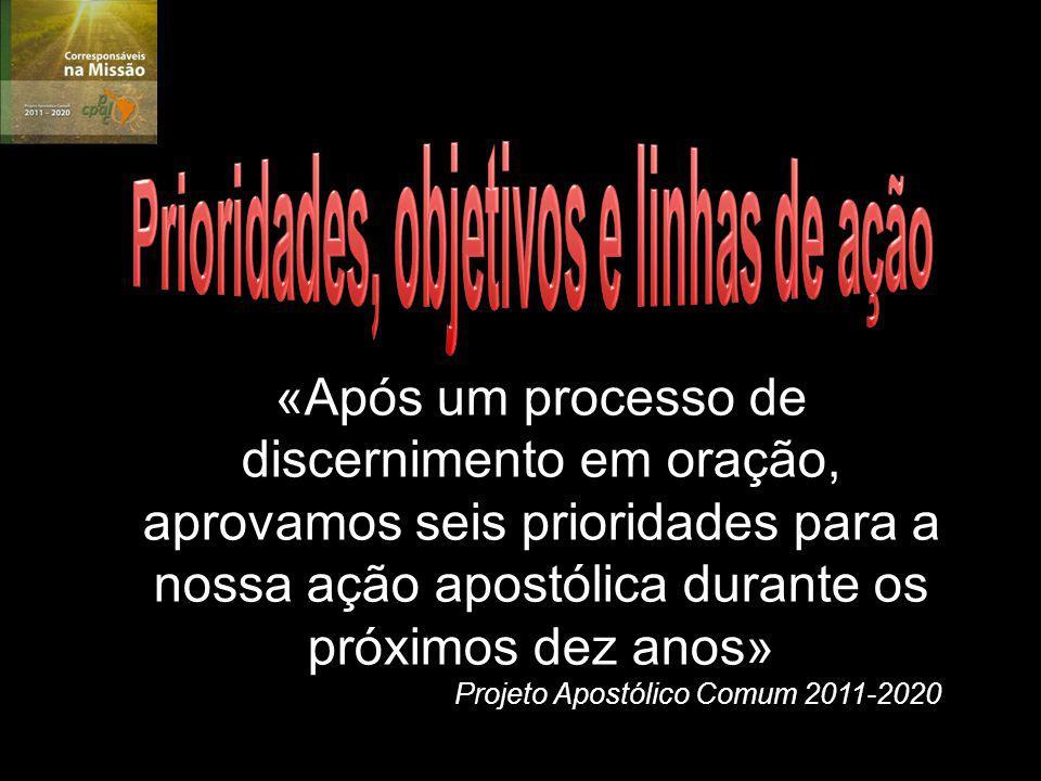 «Após um processo de discernimento em oração, aprovamos seis prioridades para a nossa ação apostólica durante os próximos dez anos» Projeto Apostólico Comum 2011-2020