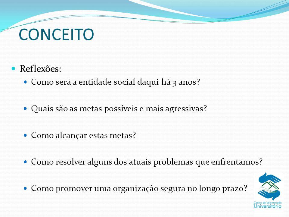 CONCEITO Reflexões: Como será a entidade social daqui há 3 anos? Quais são as metas possíveis e mais agressivas? Como alcançar estas metas? Como resol