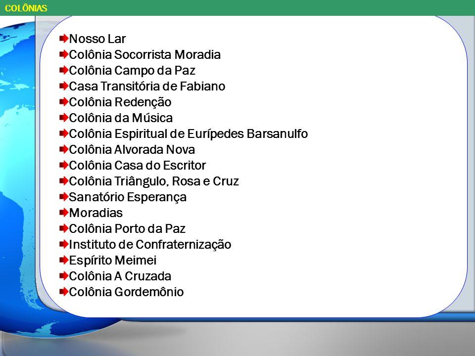 Nosso Lar Colônia Socorrista Moradia Colônia Campo da Paz Casa Transitória de Fabiano Colônia Redenção Colônia da Música Colônia Espiritual de Euríped