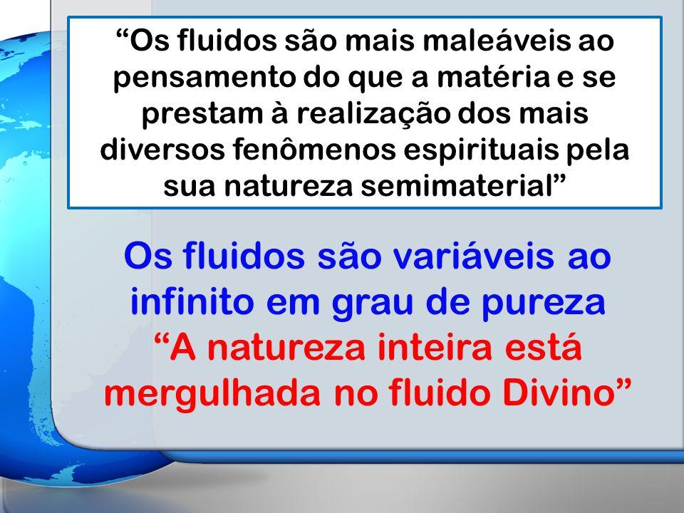 Os fluidos são mais maleáveis ao pensamento do que a matéria e se prestam à realização dos mais diversos fenômenos espirituais pela sua natureza semimaterial Os fluidos são variáveis ao infinito em grau de pureza A natureza inteira está mergulhada no fluido Divino