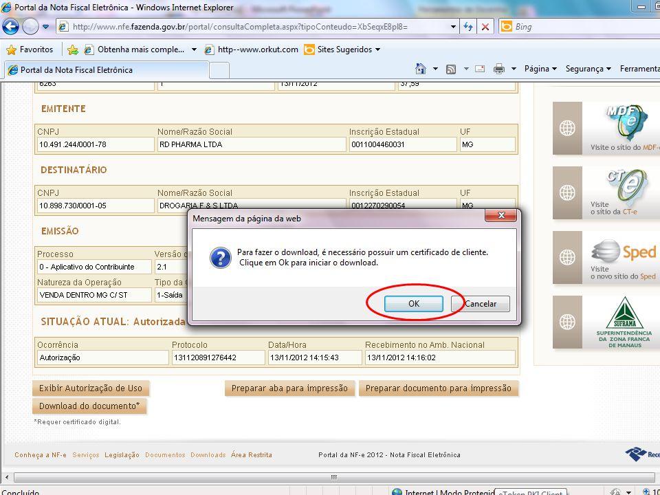 Uma nova mensagem irá aparecer na tela, clicar em ok novamente para dar continuidade.
