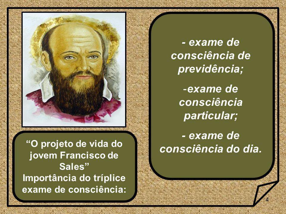 4 O projeto de vida do jovem Francisco de Sales Importância do tríplice exame de consciência: - exame de consciência de previdência; -exame de consciência particular; - exame de consciência do dia.