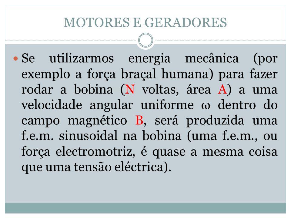 MOTORES E GERADORES Se utilizarmos energia mecânica (por exemplo a força braçal humana) para fazer rodar a bobina (N voltas, área A) a uma velocidade