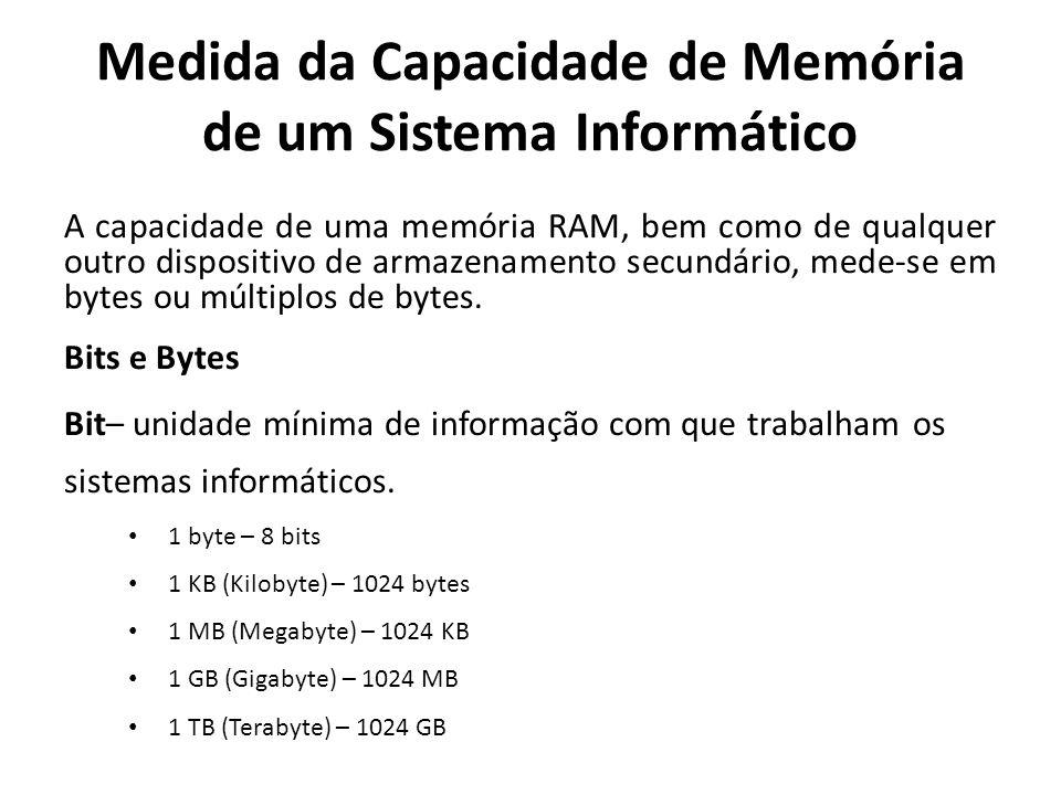 Medida da Capacidade de Memória de um Sistema Informático A capacidade de uma memória RAM, bem como de qualquer outro dispositivo de armazenamento sec