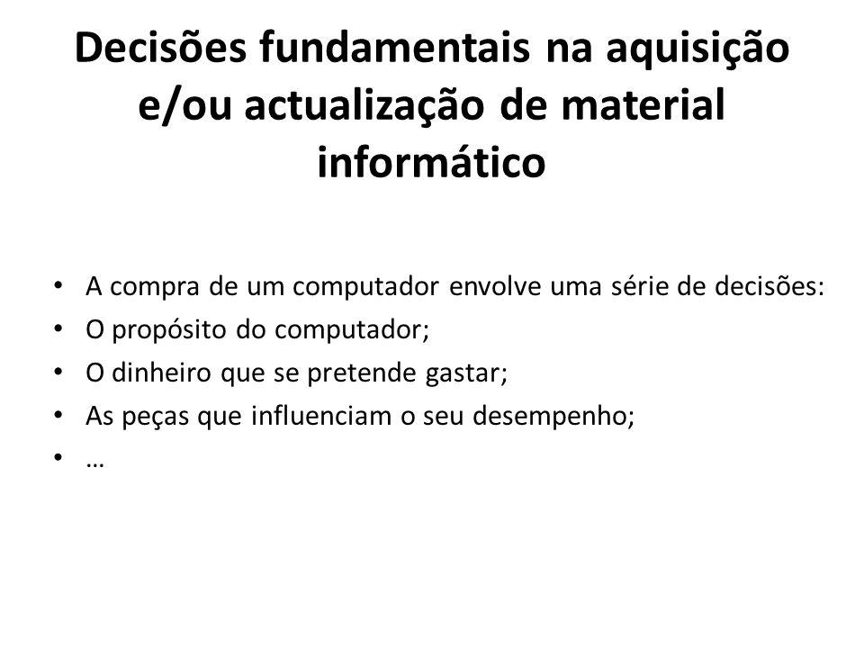 Decisões fundamentais na aquisição e/ou actualização de material informático A compra de um computador envolve uma série de decisões: O propósito do c