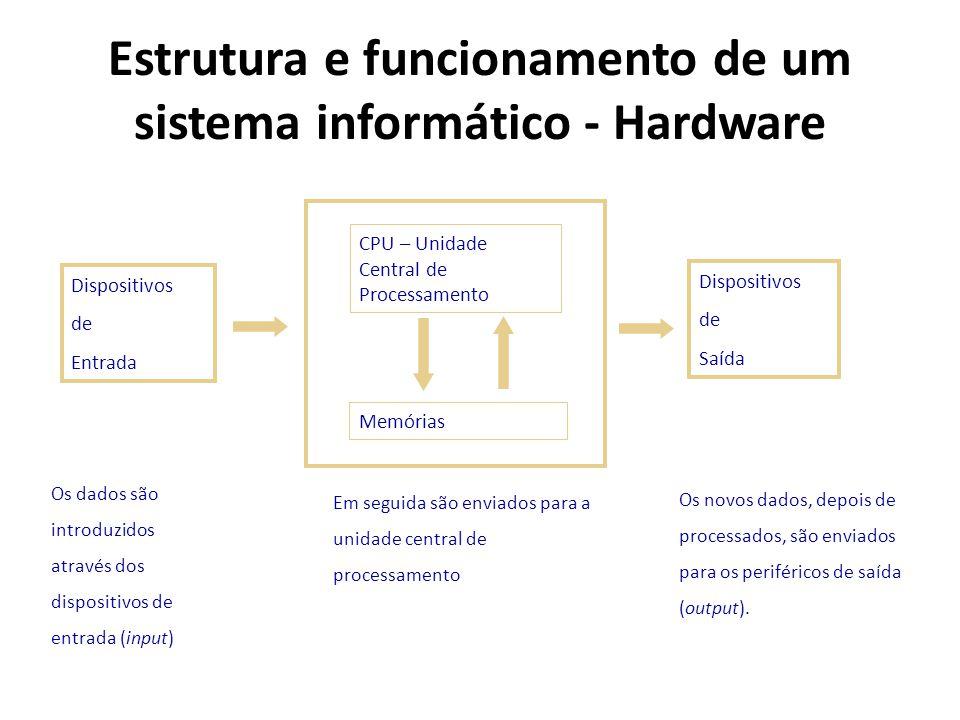 Estrutura e funcionamento de um sistema informático - Hardware Os dados são introduzidos através dos dispositivos de entrada (input) Em seguida são en