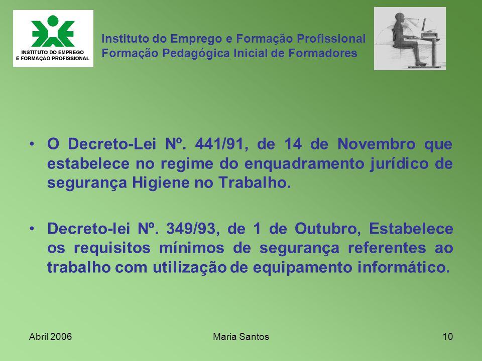 Abril 2006Maria Santos10 Instituto do Emprego e Formação Profissional Formação Pedagógica Inicial de Formadores O Decreto-Lei Nº. 441/91, de 14 de Nov