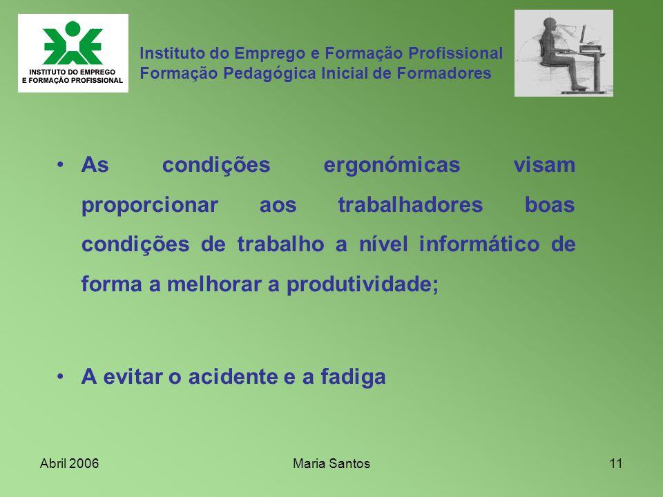 Abril 2006Maria Santos11 Instituto do Emprego e Formação Profissional Formação Pedagógica Inicial de Formadores As condições ergonómicas visam proporc