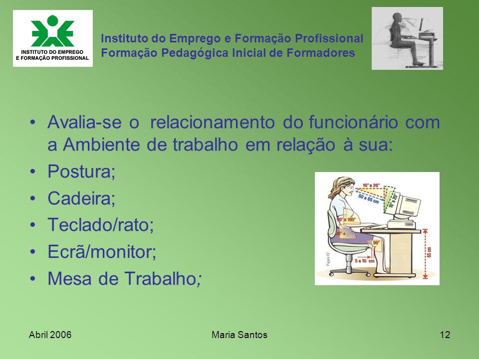 Abril 2006Maria Santos12 Instituto do Emprego e Formação Profissional Formação Pedagógica Inicial de Formadores Avalia-se o relacionamento do funcioná