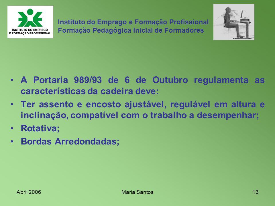Abril 2006Maria Santos13 Instituto do Emprego e Formação Profissional Formação Pedagógica Inicial de Formadores A Portaria 989/93 de 6 de Outubro regu