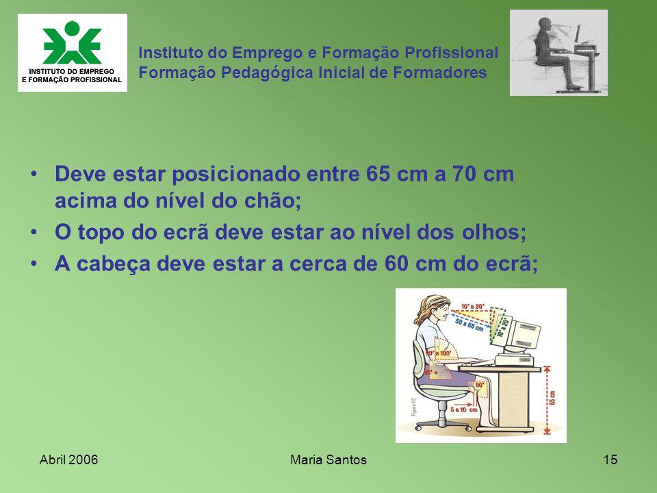 Abril 2006Maria Santos15 Instituto do Emprego e Formação Profissional Formação Pedagógica Inicial de Formadores Deve estar posicionado entre 65 cm a 7