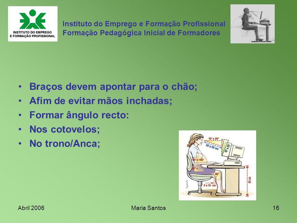 Abril 2006Maria Santos16 Instituto do Emprego e Formação Profissional Formação Pedagógica Inicial de Formadores Braços devem apontar para o chão; Afim