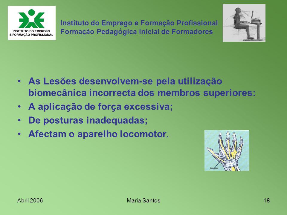 Abril 2006Maria Santos18 Instituto do Emprego e Formação Profissional Formação Pedagógica Inicial de Formadores As Lesões desenvolvem-se pela utilizaç