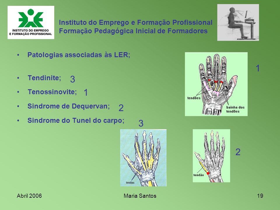 Abril 2006Maria Santos19 Instituto do Emprego e Formação Profissional Formação Pedagógica Inicial de Formadores Patologias associadas às LER; Tendinit
