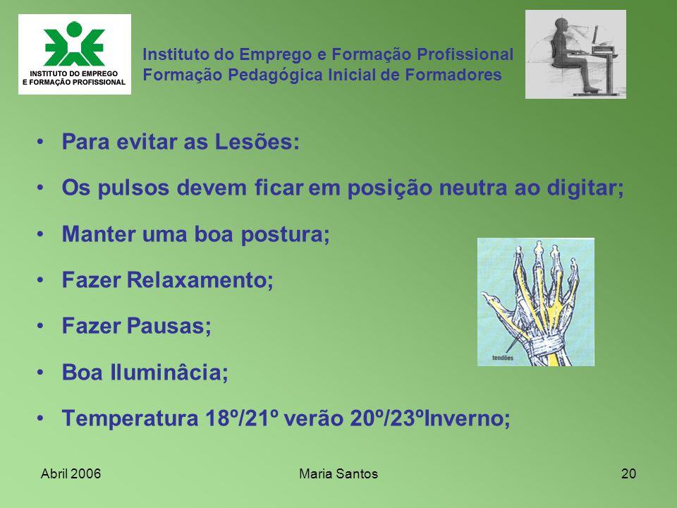 Abril 2006Maria Santos20 Instituto do Emprego e Formação Profissional Formação Pedagógica Inicial de Formadores Para evitar as Lesões: Os pulsos devem