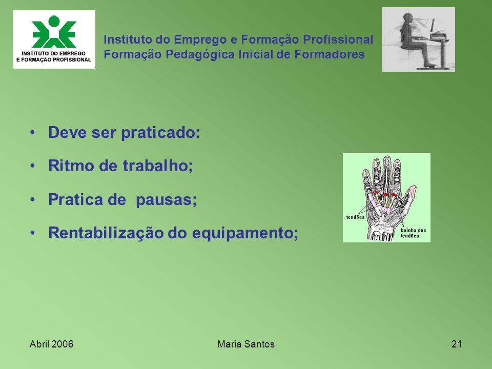 Abril 2006Maria Santos21 Instituto do Emprego e Formação Profissional Formação Pedagógica Inicial de Formadores Deve ser praticado: Ritmo de trabalho;