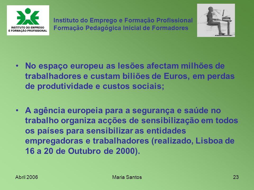 Abril 2006Maria Santos23 No espaço europeu as lesões afectam milhões de trabalhadores e custam biliões de Euros, em perdas de produtividade e custos s