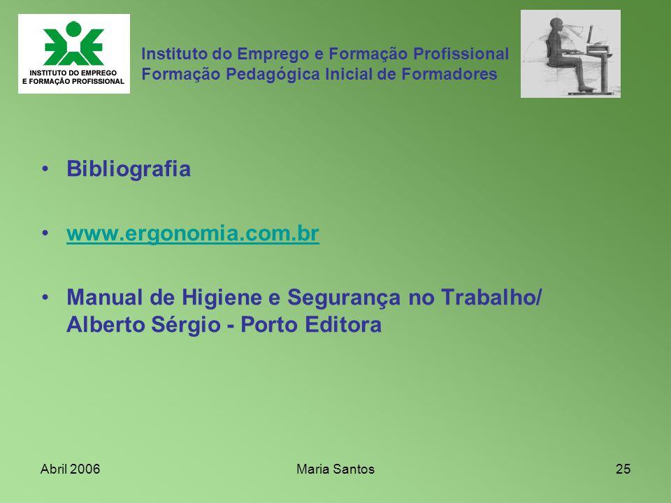 Abril 2006Maria Santos25 Instituto do Emprego e Formação Profissional Formação Pedagógica Inicial de Formadores Bibliografia www.ergonomia.com.br Manu