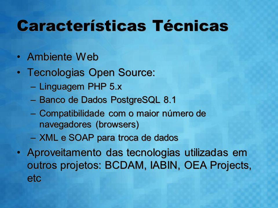 Características Técnicas Ambiente Web Tecnologias Open Source: –Linguagem PHP 5.x –Banco de Dados PostgreSQL 8.1 –Compatibilidade com o maior número de navegadores (browsers) –XML e SOAP para troca de dados Aproveitamento das tecnologias utilizadas em outros projetos: BCDAM, IABIN, OEA Projects, etc Ambiente Web Tecnologias Open Source: –Linguagem PHP 5.x –Banco de Dados PostgreSQL 8.1 –Compatibilidade com o maior número de navegadores (browsers) –XML e SOAP para troca de dados Aproveitamento das tecnologias utilizadas em outros projetos: BCDAM, IABIN, OEA Projects, etc