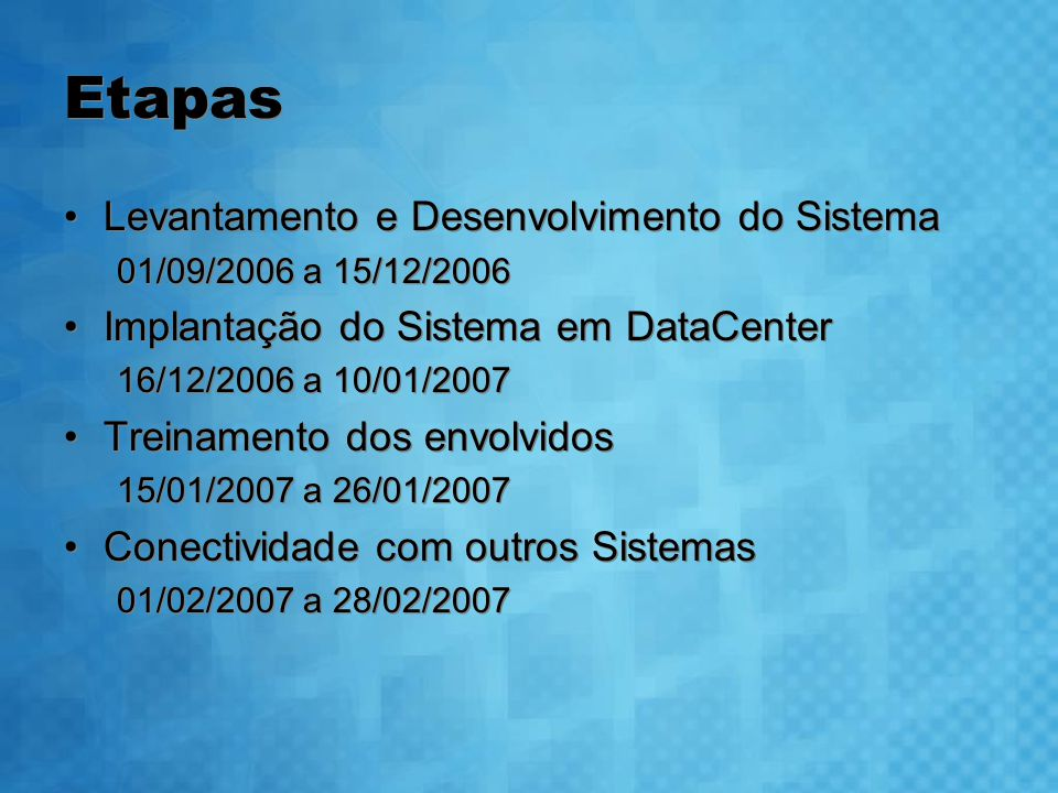 Etapas Levantamento e Desenvolvimento do Sistema 01/09/2006 a 15/12/2006 Implantação do Sistema em DataCenter 16/12/2006 a 10/01/2007 Treinamento dos envolvidos 15/01/2007 a 26/01/2007 Conectividade com outros Sistemas 01/02/2007 a 28/02/2007 Levantamento e Desenvolvimento do Sistema 01/09/2006 a 15/12/2006 Implantação do Sistema em DataCenter 16/12/2006 a 10/01/2007 Treinamento dos envolvidos 15/01/2007 a 26/01/2007 Conectividade com outros Sistemas 01/02/2007 a 28/02/2007