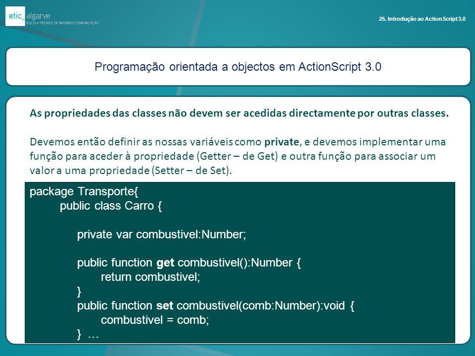Programação orientada a objectos em ActionScript 3.0 25. Introdução ao ActionScript 3.0 As propriedades das classes não devem ser acedidas directament