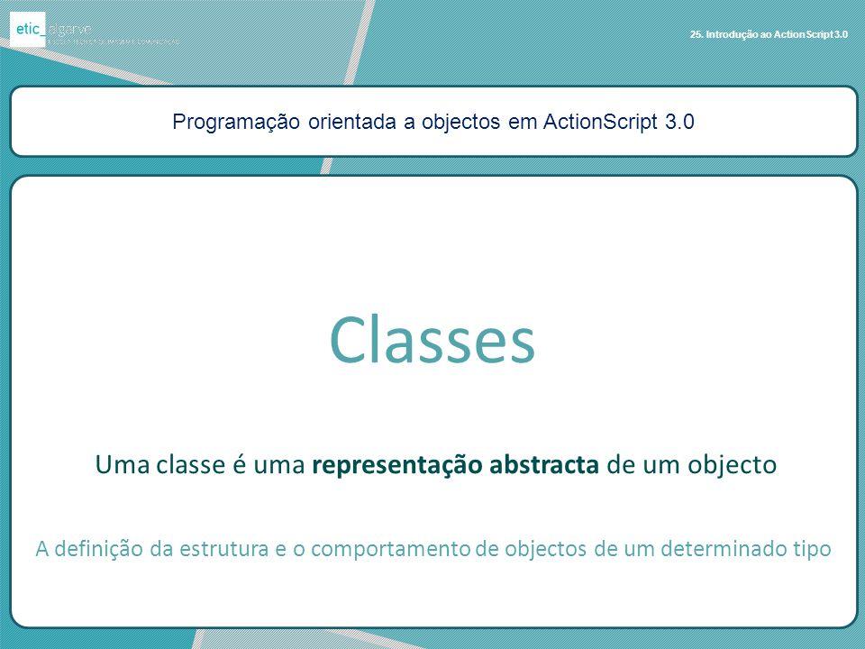 Programação orientada a objectos em ActionScript 3.0 25. Introdução ao ActionScript 3.0 Uma classe é uma representação abstracta de um objecto Classes