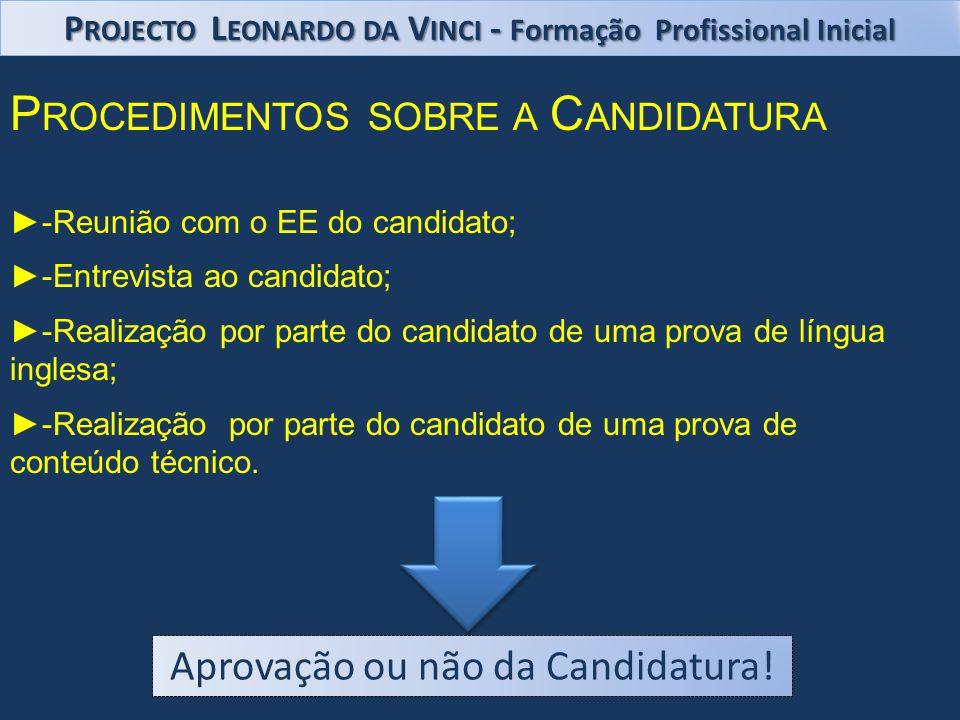 P ROCEDIMENTOS SOBRE A C ANDIDATURA -Reunião com o EE do candidato; -Entrevista ao candidato; -Realização por parte do candidato de uma prova de língua inglesa; -Realização por parte do candidato de uma prova de conteúdo técnico.