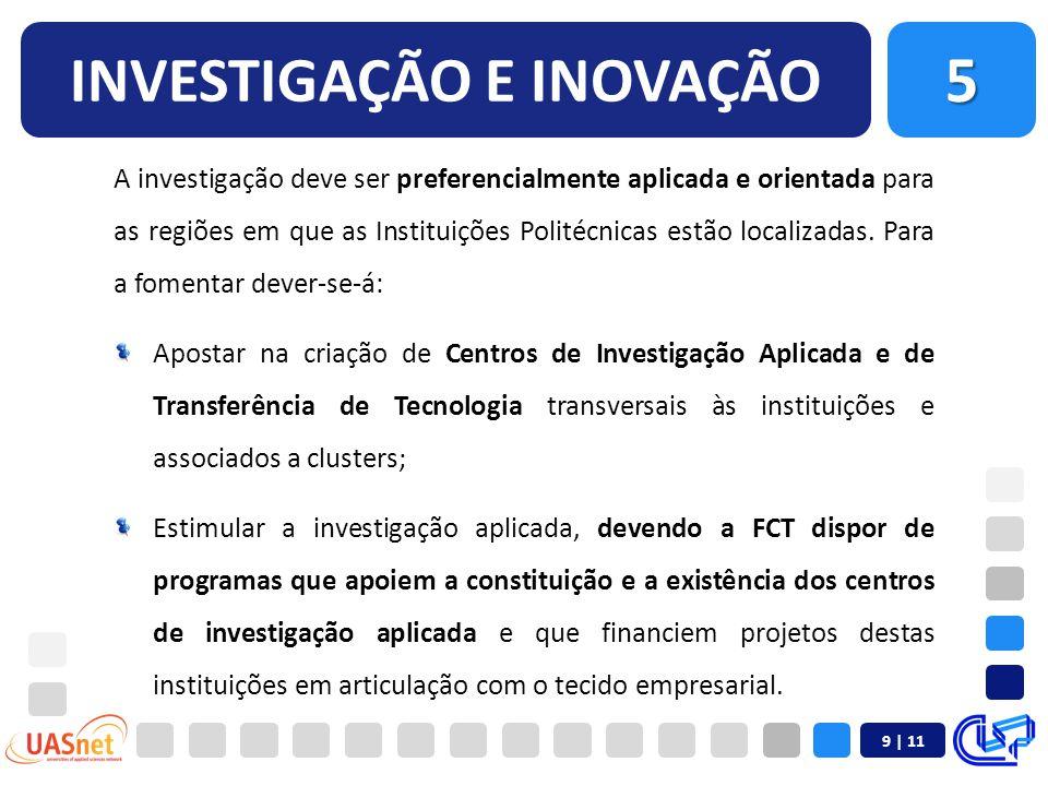 9 | 11 INVESTIGAÇÃO E INOVAÇÃO A investigação deve ser preferencialmente aplicada e orientada para as regiões em que as Instituições Politécnicas estão localizadas.