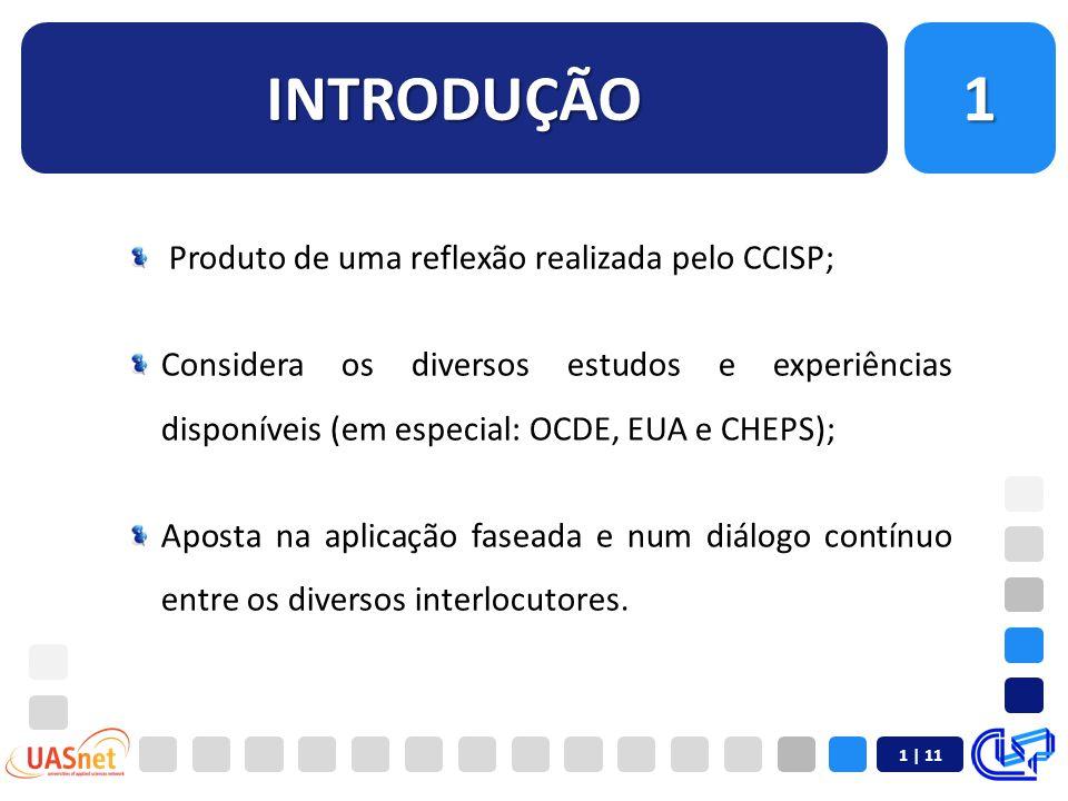 INTRODUÇÃO1 Produto de uma reflexão realizada pelo CCISP; Considera os diversos estudos e experiências disponíveis (em especial: OCDE, EUA e CHEPS); Aposta na aplicação faseada e num diálogo contínuo entre os diversos interlocutores.