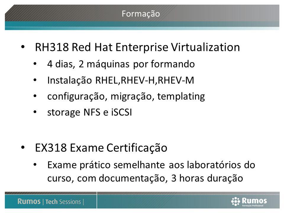 Formação RH318 Red Hat Enterprise Virtualization 4 dias, 2 máquinas por formando Instalação RHEL,RHEV-H,RHEV-M configuração, migração, templating stor