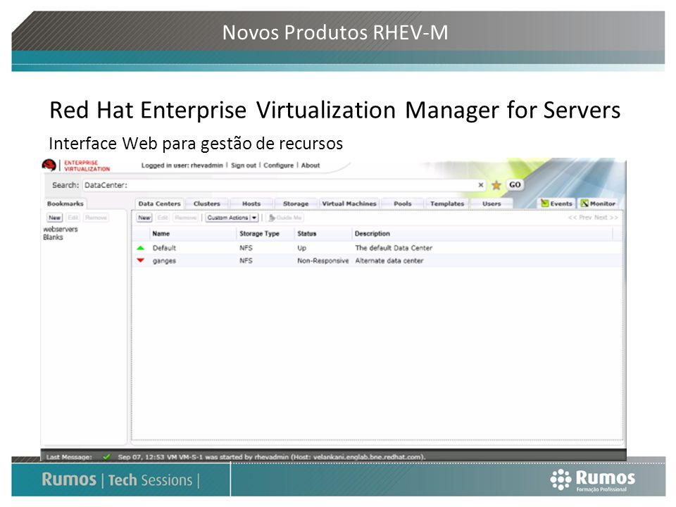 Novos Produtos RHEV-M Red Hat Enterprise Virtualization Manager for Servers Interface Web para gestão de recursos