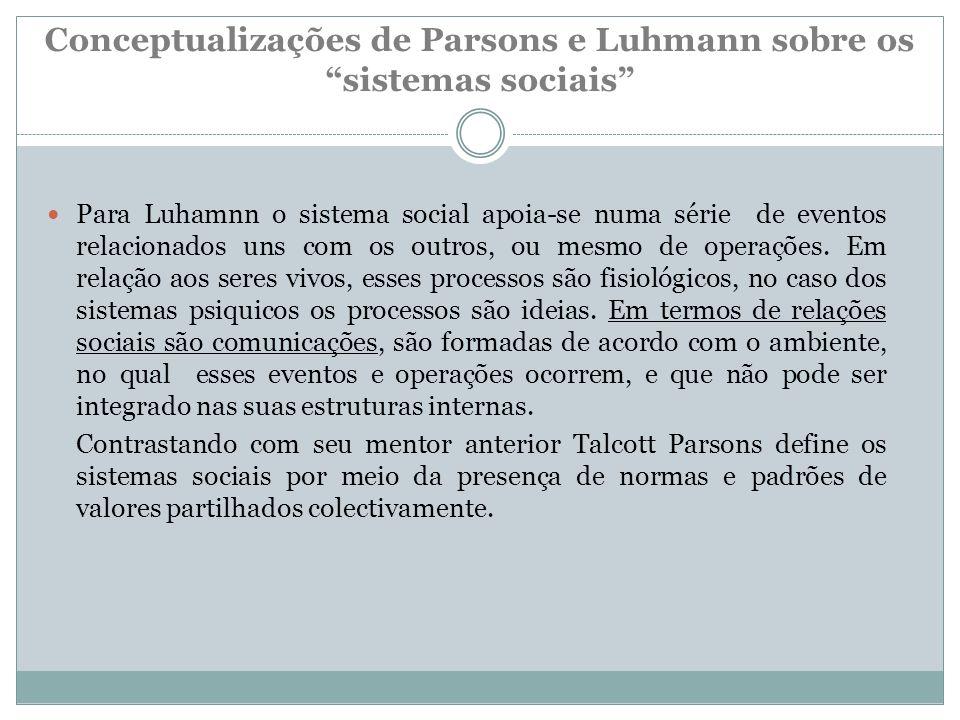Conceptualizações de Parsons e Luhmann sobre os sistemas sociais Para Luhamnn o sistema social apoia-se numa série de eventos relacionados uns com os outros, ou mesmo de operações.