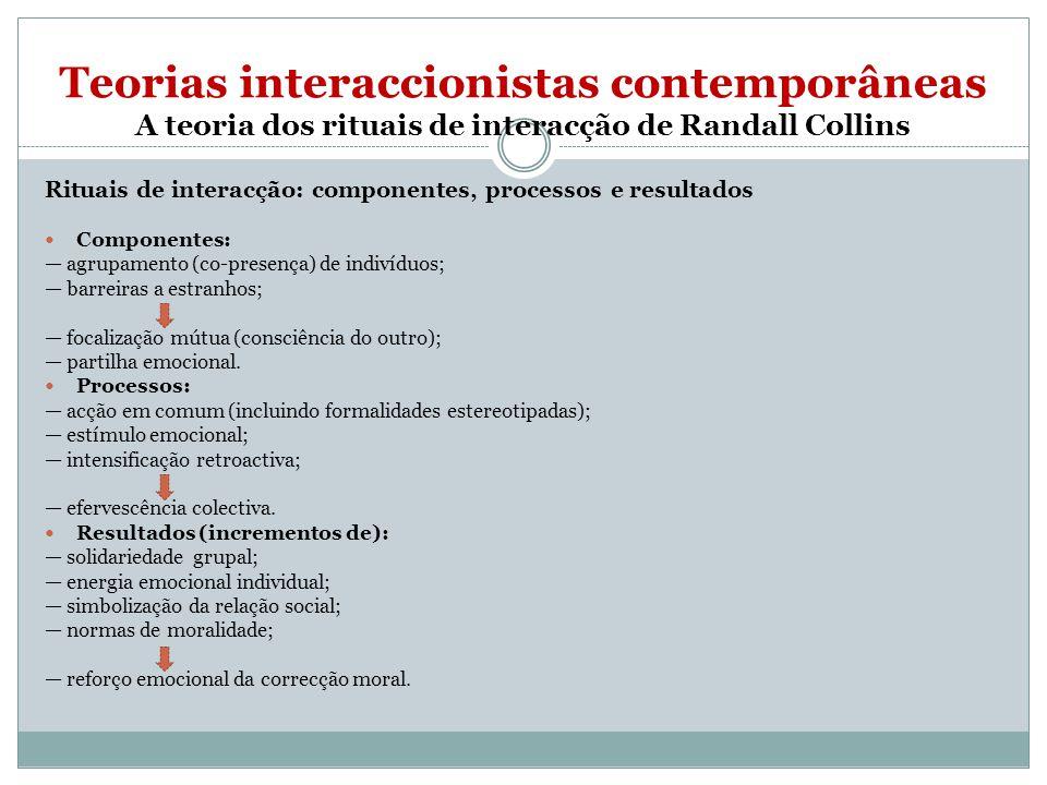 Teorias interaccionistas contemporâneas A teoria dos rituais de interacção de Randall Collins Rituais de interacção: componentes, processos e resultados Componentes: agrupamento (co-presença) de indivíduos; barreiras a estranhos; focalização mútua (consciência do outro); partilha emocional.
