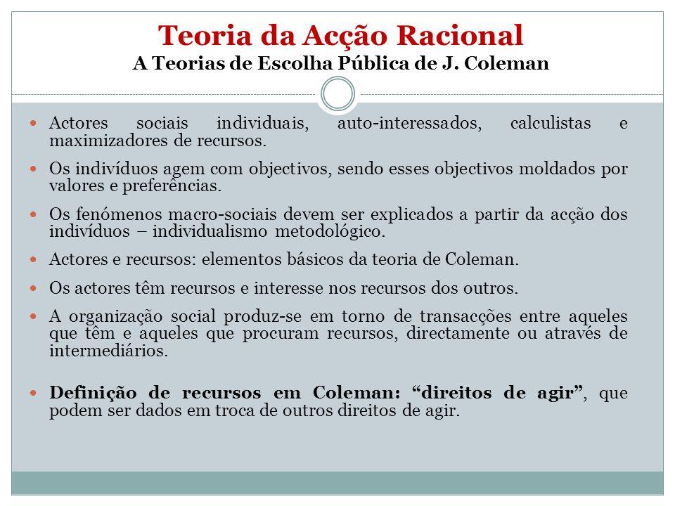 Teoria da Acção Racional A Teorias de Escolha Pública de J. Coleman Actores sociais individuais, auto-interessados, calculistas e maximizadores de rec