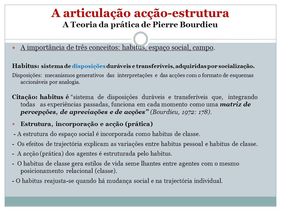 A articulação acção-estrutura A Teoria da prática de Pierre Bourdieu A importância de três conceitos: habitus, espaço social, campo. Habitus : sistema