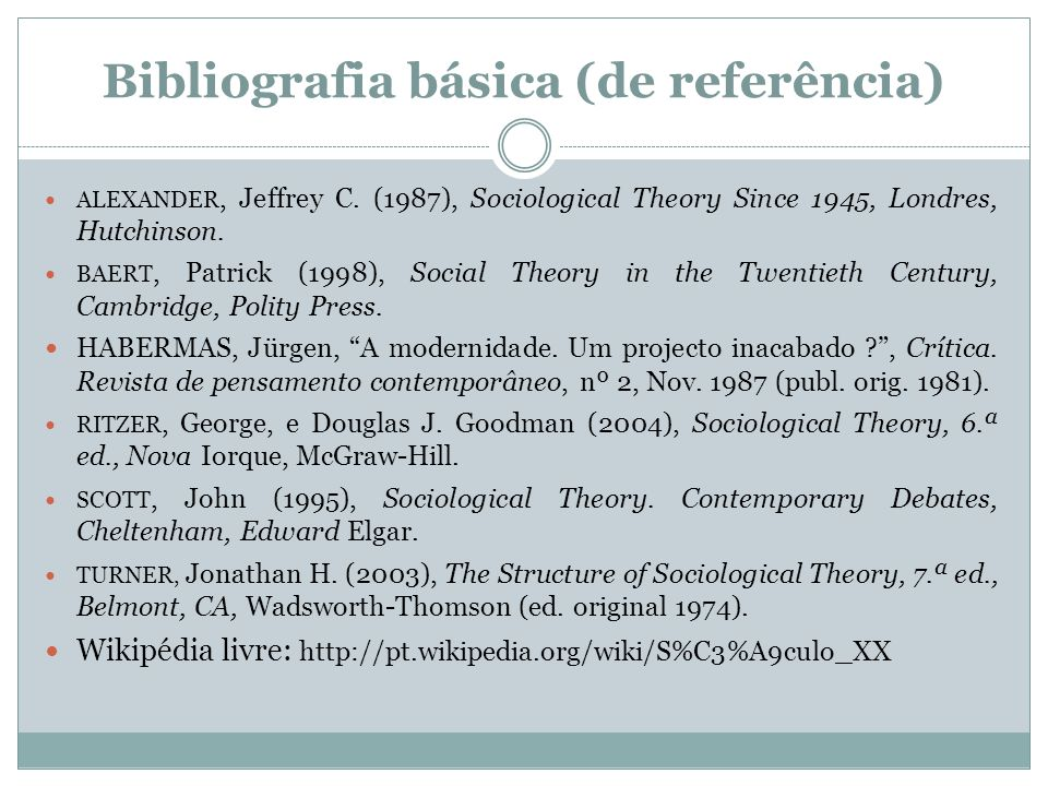 Bibliografia básica (de referência) ALEXANDER, Jeffrey C. (1987), Sociological Theory Since 1945, Londres, Hutchinson. BAERT, Patrick (1998), Social T