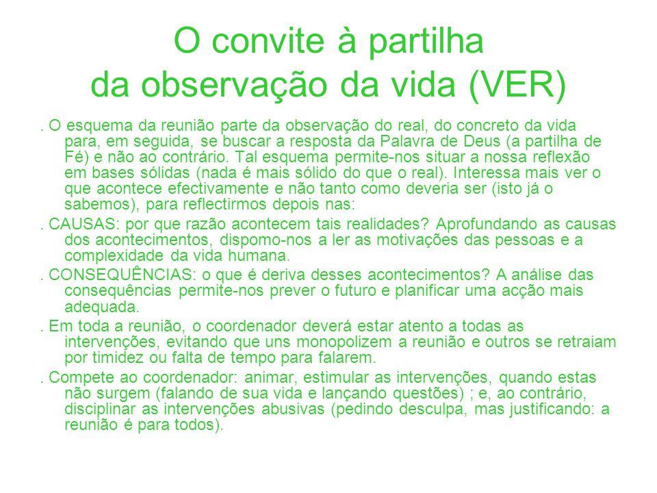 O convite à partilha da observação da vida (VER). O esquema da reunião parte da observação do real, do concreto da vida para, em seguida, se buscar a