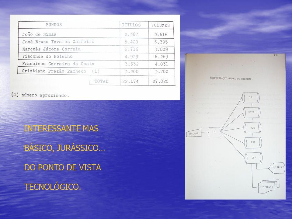 INTERESSANTE MAS BÁSICO, JURÁSSICO… DO PONTO DE VISTA TECNOLÓGICO.