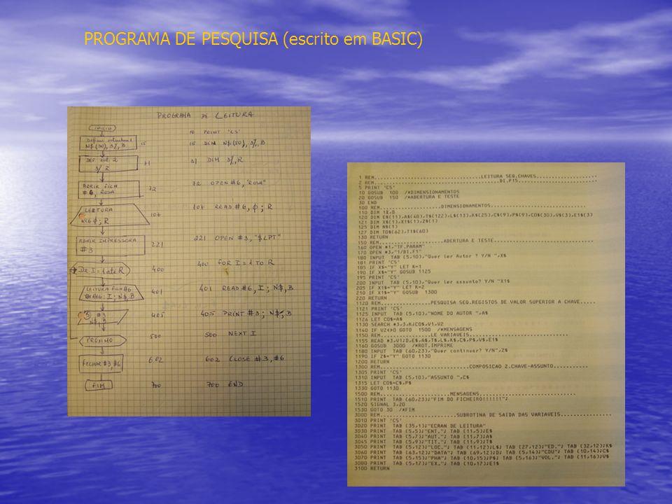 PROGRAMA DE PESQUISA (escrito em BASIC)