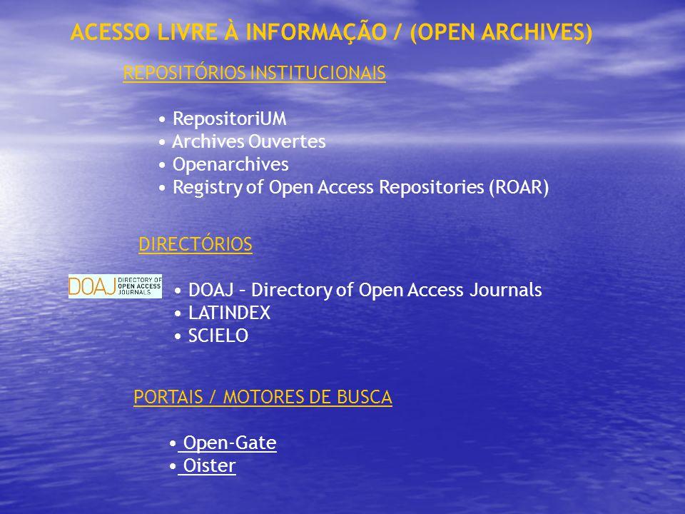 REPOSITÓRIOS INSTITUCIONAIS RepositoriUM Archives Ouvertes Openarchives Registry of Open Access Repositories (ROAR) ACESSO LIVRE À INFORMAÇÃO / (OPEN ARCHIVES) DIRECTÓRIOS DOAJ – Directory of Open Access Journals LATINDEX SCIELO PORTAIS / MOTORES DE BUSCA Open-Gate Oister