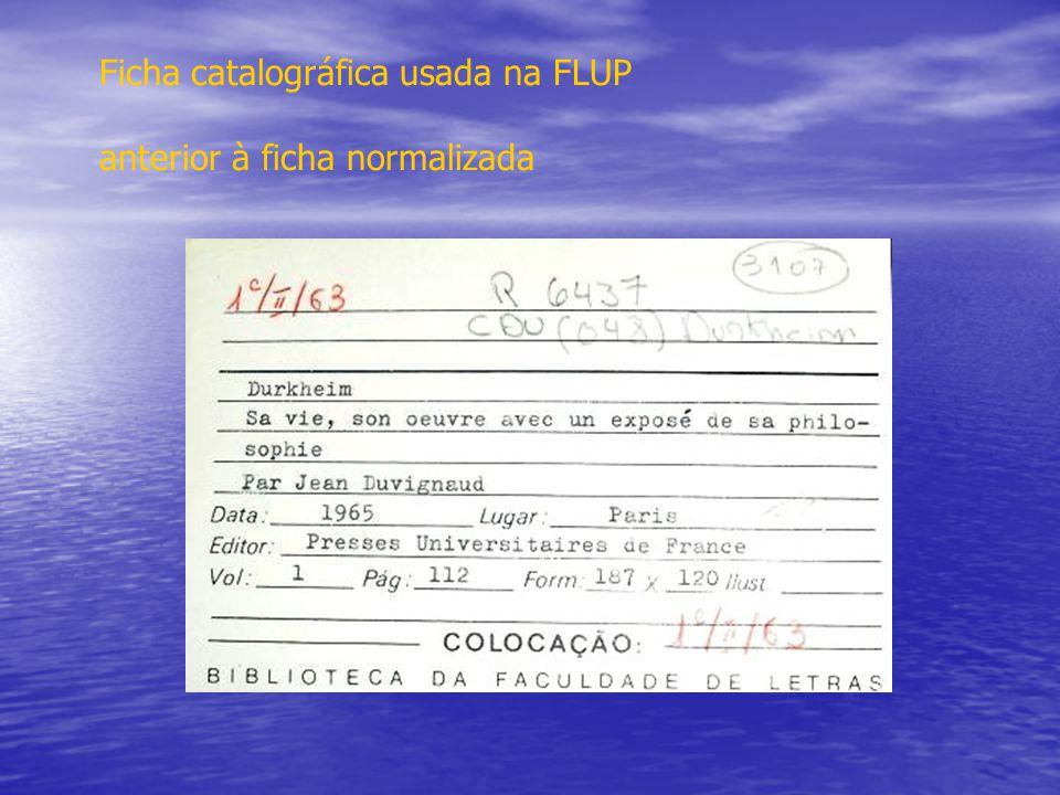 Ficha catalográfica usada na FLUP anterior à ficha normalizada