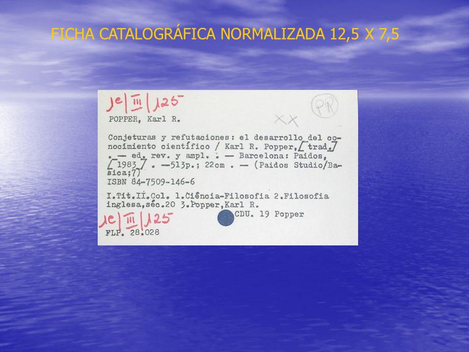 FICHA CATALOGRÁFICA NORMALIZADA 12,5 X 7,5
