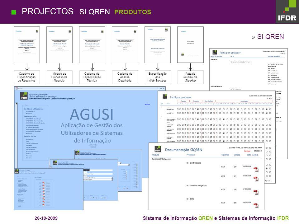 28-10-2009 Sistema de Informação QREN e Sistemas de Informação IFDR VPN Ambiente Testes Cluster » SI QREN (Web Services) PROJECTOS SI QREN ARQUITECTUR