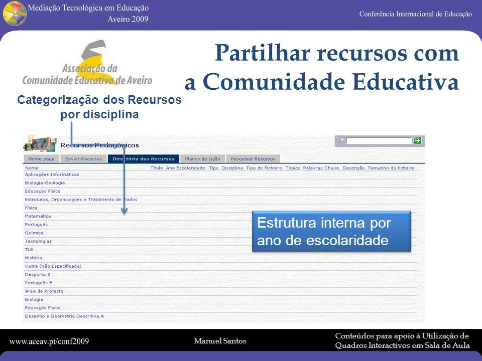Manuel Santos Conteúdos para apoio à Utilização de Quadros Interactivos em Sala de Aula Partilhar recursos com a Comunidade Educativa Categorização dos Recursos por disciplina Estrutura interna por ano de escolaridade