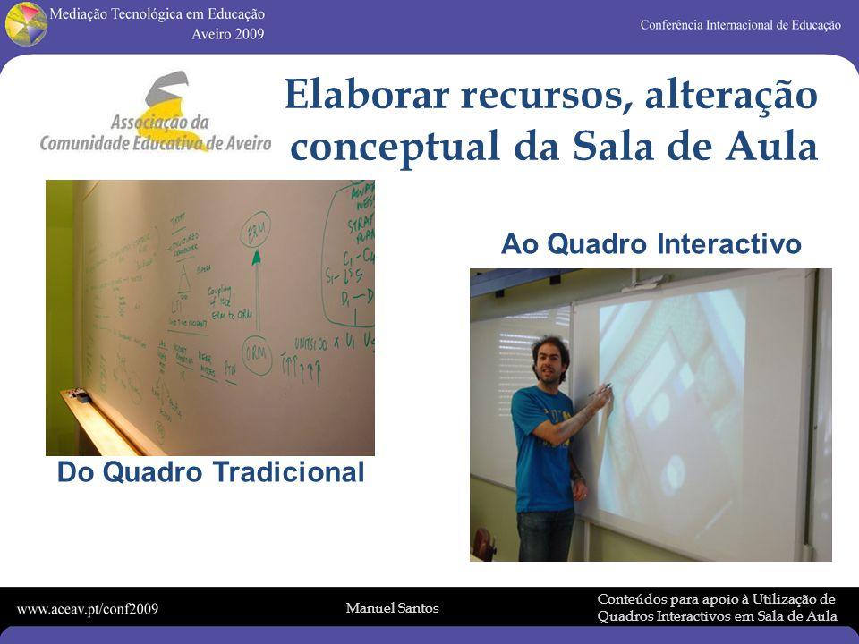 Manuel Santos Conteúdos para apoio à Utilização de Quadros Interactivos em Sala de Aula Do Quadro Tradicional Ao Quadro Interactivo Elaborar recursos, alteração conceptual da Sala de Aula